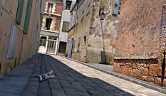 Une rue en 3d réalisée avec Blender et Luxrender